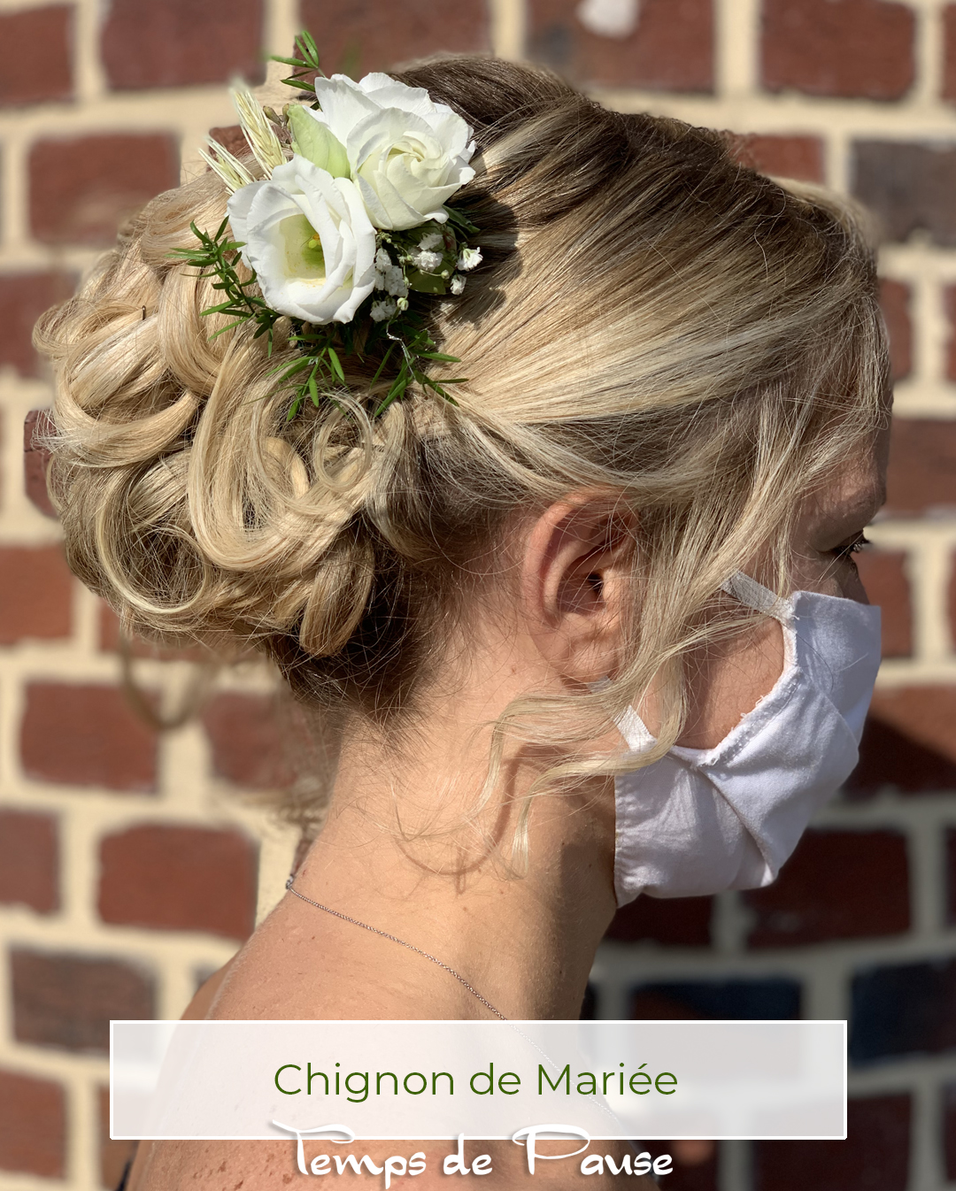 Chignon mariage Réalisation Temps de Pause 105 Grand rue 59550 Maroilles