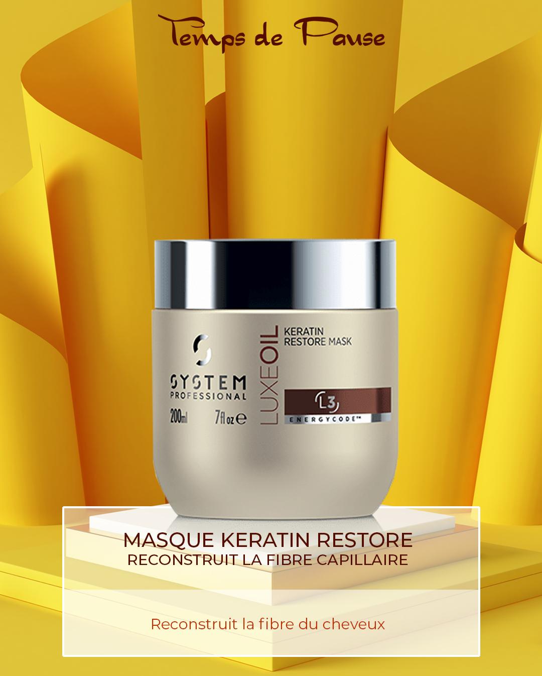 MASQUE Keratin Restore- Reconstruit la fibre capillaire
